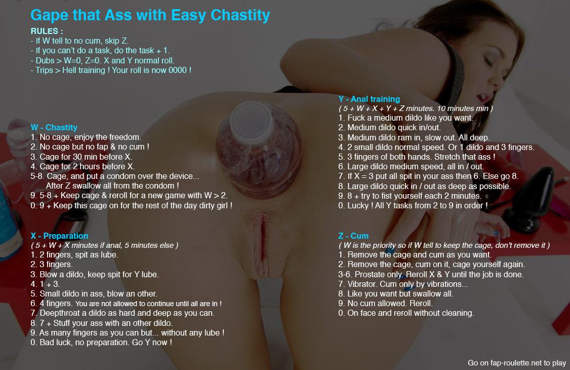 Gape that Ass with Easy Chastity - Fap Roulette