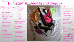 Punished  in chastity and diapers