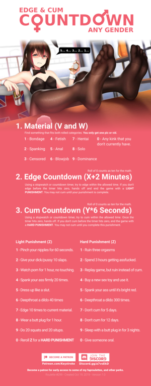 Edge and Cum Countdown - any gender