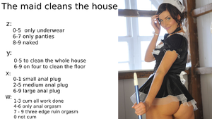 The maid cleans the house