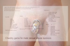 Chastity game for male survivors of sexual abuse