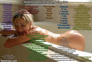 Relaxing bathtime for pee loving sluts