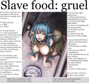 Slave food: gruel - diet for breakfast, lunch and dinner meals