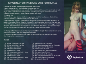 Impaled lap sitting edging game for couples