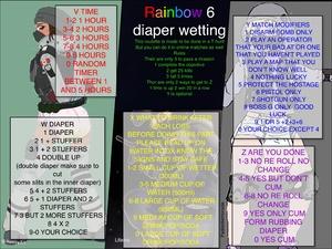 Rainbow 6 diaper wetting