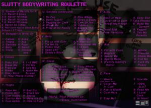 Slutty Body Writing Roulette
