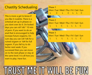 Chastity schedual