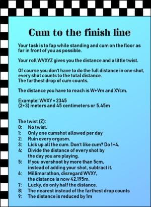 Cum to the finish line