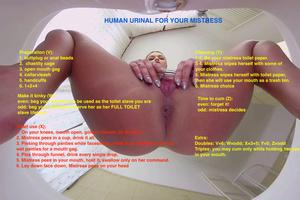 Mistress's human urinal